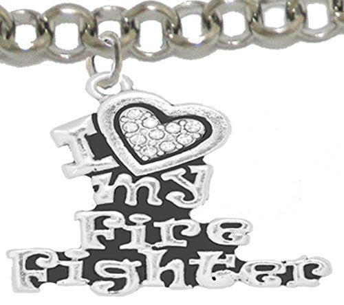 firefighter, i love my firefighter, genuine crystal, adjustable bracelet - safe, nickel & lead free