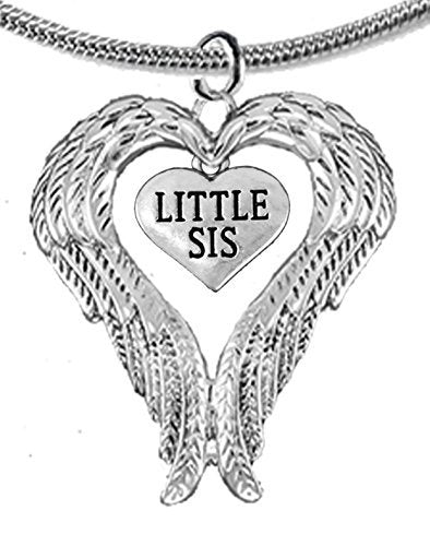 Guardian Angel, Heart (Love) Shaped Wings for Little Sis Necklace, Adjustable - Safe, Nickel Free