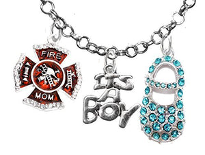 "Firefighter Mom's, ""It's A Boy"", Necklace, Hypoallergenic, Safe - Nickel & Lead Free"