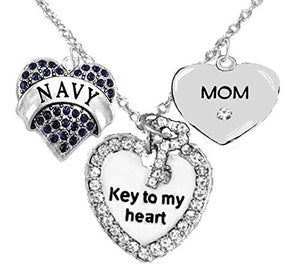 "Navy ""Mom"", ""Key to My Heart"", ""Crystal Mom"" Heart Charm Necklace, Safe - Nickel & Lead Free"
