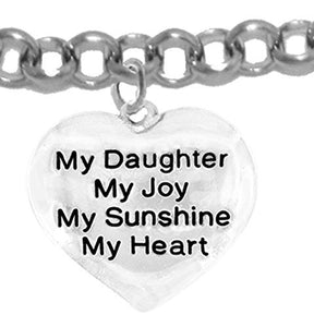 "Message Jewelry, My ""Daughter"", My Joy, My Sunshine, My Heart, Adjustable Rolo Chain Bracelet - Safe"