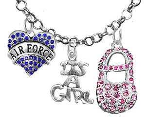 "Air Force's, ""It's A Girl"", Necklace, Hypoallergenic, Safe - Nickel & Lead Free"