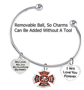 Firefighter Girlfriend, My Love, My Joy, My Sunshine, I Will Love You Forever Bracelet - Safe