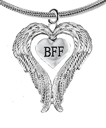 """guardian angel, heart (love) shaped wings for """"bff"""" (best friends forever) adjustable necklace"""