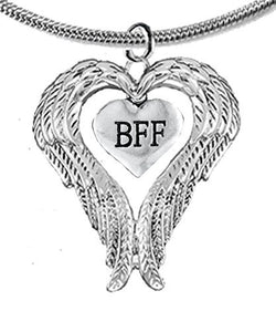 "Guardian Angel, Heart (Love) Shaped Wings For ""BFF"" (Best Friends Forever) Adjustable Necklace"
