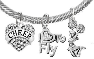 "Cheer Crystal Heart, ""I Love to Fly"", Jumping Cheerleader, Genuine Cable Adjustable Charm Bracelet"
