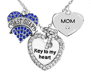 "Coast Guard ""Mom"", ""Key to My Heart"", ""Crystal Mom"" Heart Charm Necklace, Safe - Nickel Free"