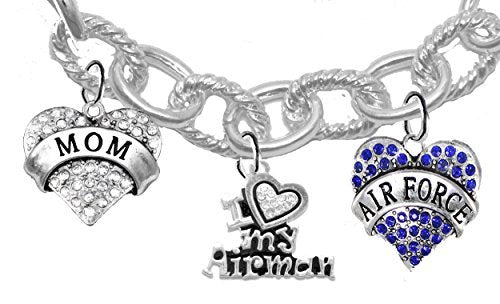 "air force ""mom"", crystal i love my airman, air force charm, heart clasp cable chain bracelet"