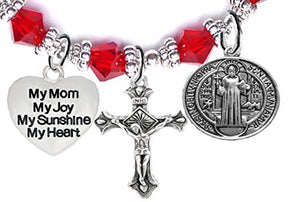 Saint Benedict Charm, My Mom, My Joy, My Sunshine, My Heart, And Prayer Red Crystal Bracelet