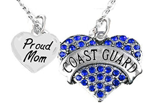 "Coast Guard Proud ""Mom"", Heart Charm Necklace, Adjustable - Safe, Nickel & Lead Free"