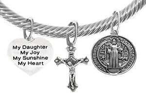 "Saint Benedict Charm, My ""Daughter"", My Joy, Crucifix, My Sunshine, My Heart & Prayer Bracelet"