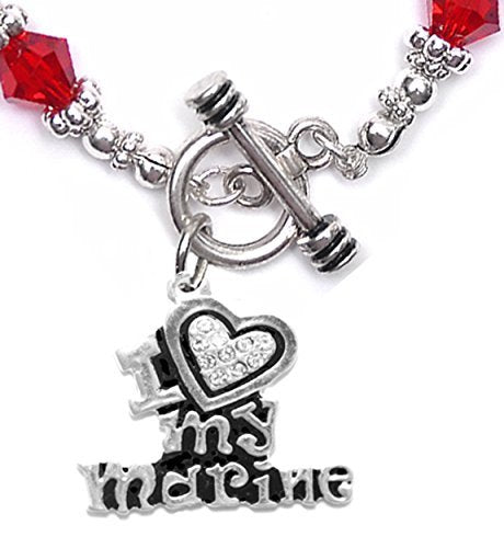 marine i love my marine, crystal heart, bracelet, hypoallergenic, safe - nickel & lead free