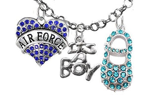 "Airman's Wife's, ""It's A Boy"", Necklace, Hypoallergenic, Safe - Nickel & Lead Free"