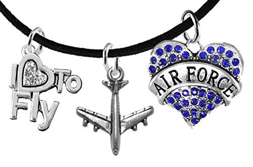 "air force"" ""i love to fly"" genuine crystal, air force charm & jet plane, black suede bracelet"