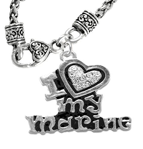 marine i love my marine, crystal heart, necklace, hypoallergenic, safe - nickel & lead free