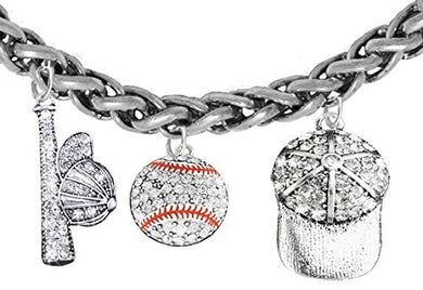 Baseball, Genuine Crystal. Bat, Caps Bracelet, Hypoallergenic, Safe - Nickel & Lead, Free