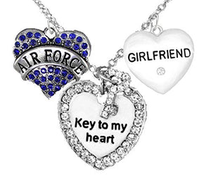 "Air Force Girlfriend, ""Key to My Heart"", Crystal ""Girlfriend"" Heart, Safe - Nickel & Lead Free"
