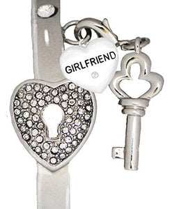"Girlfriend ""The Key to My Heart"" Cuff Crystal Bracelet, ""It Really Locks!"" Safe, Nickel & Lead Free"
