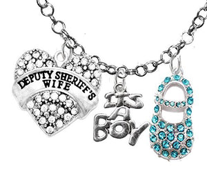 "Deputy Sheriff's Wife's, ""It's A Boy"", Necklace, Hypoallergenic, Safe - Nickel & Lead Free"