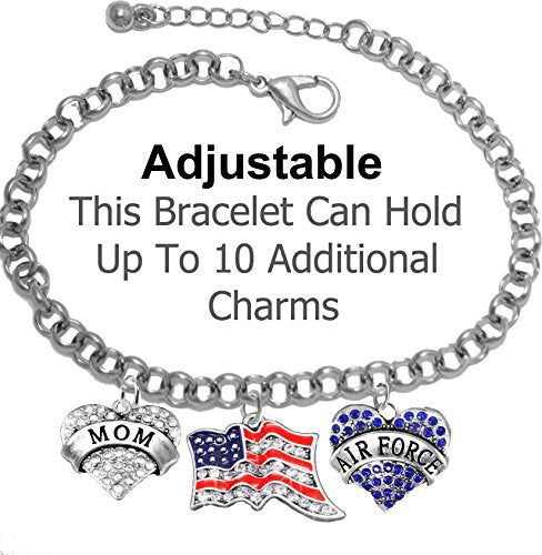 "air force ""mom"", crystal american flag, air force charm, adjustable rolo chain bracelet - safe"