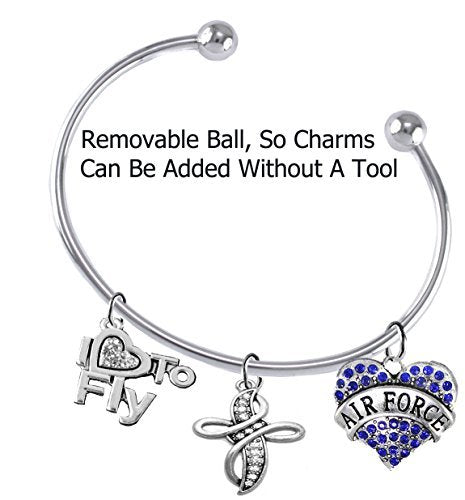 """air force, """"i love to fly"""", genuine crystal, beautiful crystal cross, removable end ball bracelet"""