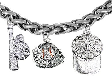Baseball, Glove, Genuine Crystal. Bat, Caps Bracelet, Hypoallergenic, Safe - Nickel & Lead, Free