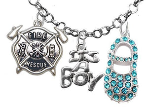 "Rescue Fireman's Wife's, ""It's A Boy"", Necklace, Hypoallergenic, Safe - Nickel & Lead Free"