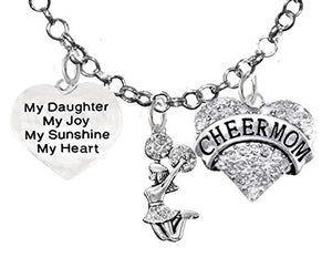 "Cheer Mom My ""Daughter"", My Joy, My Sunshine, My Heart Crystal Cheerleader Rolo Chain Charm Necklace"