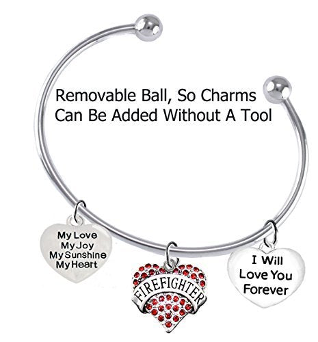 firefighter, my love, my joy, my sunshine, i will love you forever bracelet - safe, nickel free