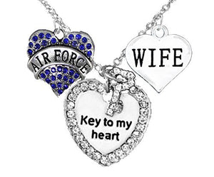 "Air Force Wife, ""Key to My Heart"", ""Wife"" Heart Necklace, Hypoallergenic, Safe - Nickel & Lead Free"