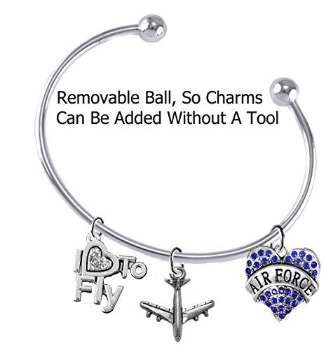 "air force"" ""i love to fly"" genuine crystal, air force charm & jet plane, removable ball bracelet"