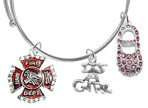 "Firefighter's ""It's A Girl"", Adjustable Bracelet, Safe - Nickel & Lead Free"