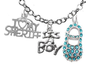 "Sheriff's, ""It's A Boy"", Necklace, Hypoallergenic, Safe - Nickel & Lead Free"
