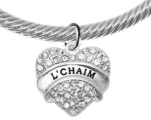 "Jewish ""L'Chiam"", ""To Life "" Crystal Heart Silvertone Bracelet with Crystal Ends, A Great Gift! Safe"
