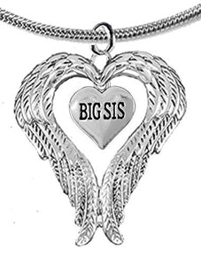 Guardian Angel, Heart (Love) Shaped Wings for Big Sis Necklace, Adjustable - Safe, Nickel Free