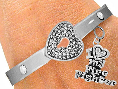 It Really Locks! Firefighter, I Love My Firefighter, The Key to My Heart Cuff Crystal Bracelet