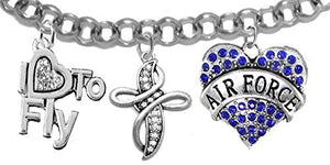 "Air Force, ""I Love to Fly"", Genuine Crystal, Beautiful Crystal Cross, Bracelet, Nickel & Lead Free"