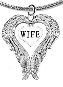Guardian Angel, Heart (Love) Shaped Wings for Wife Necklace, Adjustable - Safe, Nickel & Lead Free