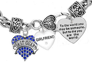 "Coast Guard Girlfriend, ""To the World You May Be Someone"" Charm Bracelet, Crystal Heart Girlfriend"
