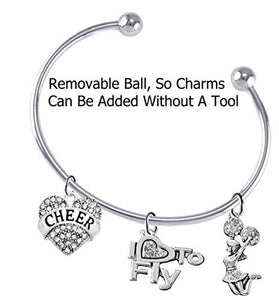 "Cheer Crystal Heart, Crystal ""I Love to Fly"", Jumping Cheerleader, Removable Ball Charm Bracelet"
