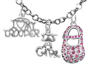 "Trooper's Wife's, ""It's A Girl"", Necklace, Hypoallergenic, Safe - Nickel & Lead Free"