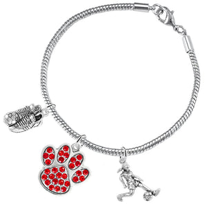 "The Perfect Gift ""Soccer Jewelry"" Red Crystal Paw Snake Chain Bracelet Safe - Nickel & Lead Free"