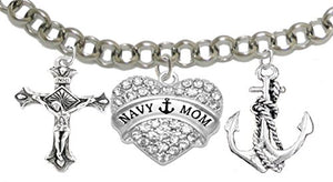 "Navy ""Mom"", Adjustable Bracelet, Hypoallergenic, Safe - Nickel & Lead Free"