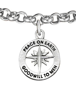 Christmas, Peace on Earth, Good Will… Hypoallergenic Adjustable Bracelet, Safe - Nickel & Lead Free.