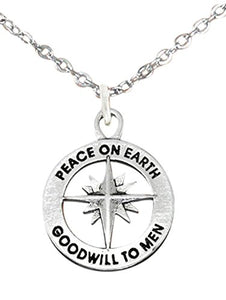 Christmas, Exclusive, Peace on Earth, Good Will... Adjustable Necklace, Safe - Nickel & Lead Free.