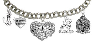 "Navy ""Mom"", I Love My Sailor, Adjustable Bracelet, Hypoallergenic, Safe - Nickel & Lead Free"