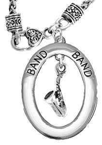 "Band ""Saxophone Player"" Hypoallergenic Adjustable Necklace, Safe - Nickel & Lead Free"