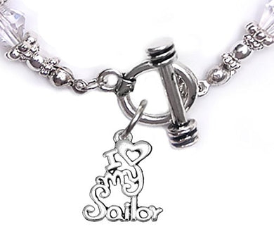 Navy, I Love My Sailor, Clear Crystal Bracelet Hypoallergenic, Safe - Nickel & Lead Free