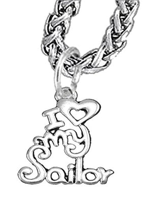 Navy, I Love My Sailor, Wheat Chain Necklace Hypoallergenic, Safe - Nickel & Lead Free