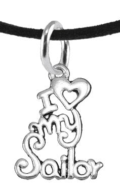 Navy, I Love My Sailor, Adjustable Necklace Hypoallergenic, Safe - Nickel & Lead Free